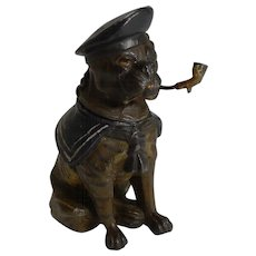 Antique English Painted Spelter Novelty Inkwell - Sailor Bulldog c.1900