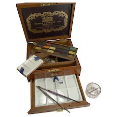 Antique English Winsor and Newton Artist's Watercolour / Paint Box c.1885
