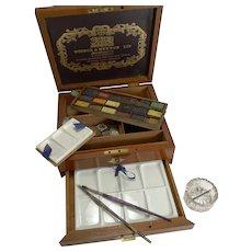 Antique English Winsor and Newton Artist's Watercolour / Paint Box c.1885