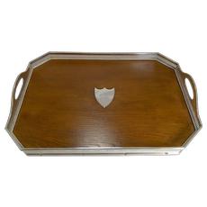 Fine Quality English Oak and Silver Plate Tray by Mappin Brothers c.1890