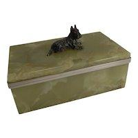 Vintage Art Deco Onyx Box - English Scottish Terrier Cold Painted Bronze c.1920