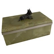 Vintage Art Deco Onyx Box - English Scottish Terrier Cold Painted Bronze c.1920