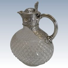 Victorian English Cut Crystal and Sterling Silver Claret / Wine Jug - 1863