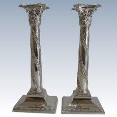Pair Antique Scottish Silver Plated Candlesticks - Sorley Glasgow c.1890
