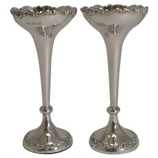 Superb Pair Antique English Sterling Silver Posy Vases