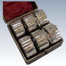 Six Victorian Belt Buckle Napkin Rings c.1890 - Silver Plate