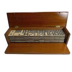 Antique English Boxed Set Bone & Ebony Wood Double Nines Dominoes c.1890