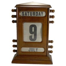 "Oversized (15 1/2"" tall) Antique English Perpetual Desk Calendar"