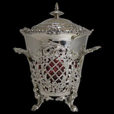 Magnificent Antique Scottish Biscuit Box - Cranberrry Glass Liner c.1890