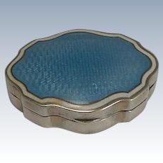 Pretty Shaped English Sterling Silver and Enamel Pill Box - 1910