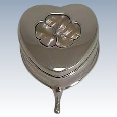 Antique English Heart Shaped Sterling Silver and Mother of Pearl Ring Box