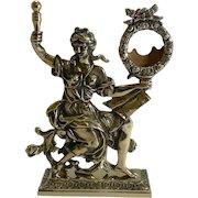 Antique English Cast Brass Figural Pocket Watch Holder / Stand c.1880