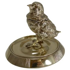 Adorable Antique English Chick Inkwell / Match Striker c.1880