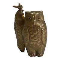 Antique English Figural Sovereign Case - Owl With Glass Eyes