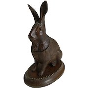 Antique Novelty Black Forest Hare Inkwell c.1890