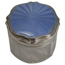 Art Deco Sterling Silver and Guilloche Enamel Lidded Vanity Jar - 1931