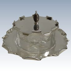 Antique English Silver Plate and Glass Caviar Dish / Server c.1900