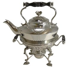 Fabulous Petite Antique Silver Plated Kettle on Stand - 1900