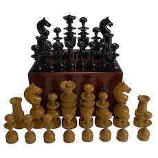 Large Antique English Regency Style Chess Set In Wooden Case c.1900