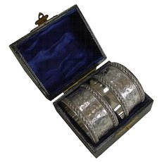 Fine Cased Pair Antique English Sterling Silver Napkin Rings