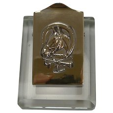 Equestrian Brass and Glass Desk Letter Clip c.1910