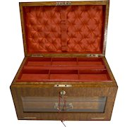 Grand Large Antique English Burr Ash Jewelry Box c.1890