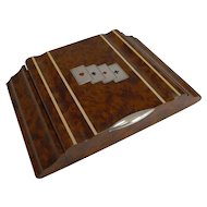 Italian Art Deco Amboyna & Silver Playing Card / Games Box c.1935