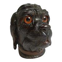 Fabulous Large Antique Black Forest Novelty Inkwell c.1890 - Dog