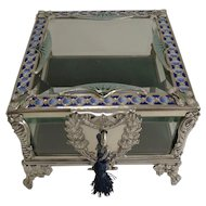 French Art Nouveau Silver Plate and Enamel Jewelry Box c.1900