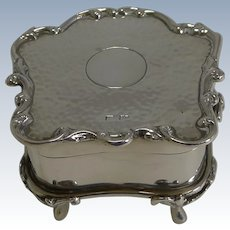 Antique English Sterling Silver Jewelry Box by Walker and Hall