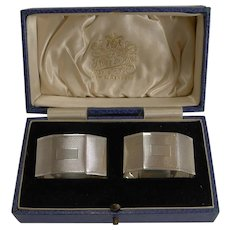 Pair English Sterling Silver Art Deco Napkin Rings - 1934
