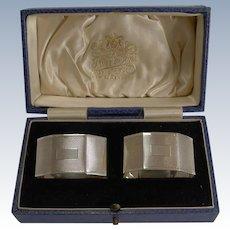 Pair English Sterling Silver Art Deco Napkin Rings - 1934