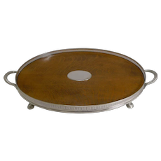 Antique English Oak & Silver Plate Tray by Roberts and Belk c.1890