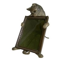 Very Rare Cold Painted Bronze Novelty Photograph Frame - Cat With Glass Eyes