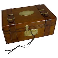 Hand Carved French Jewelry Box - Miniature Trunk c.1880