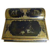 Exquisite Antique English Hand Painted Papier Mache Writing Box / Lap Desk c.1850 - Dogs