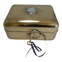 Magnificent Polished Brass Jewellery Box With Wedgwood Plaque c.1860