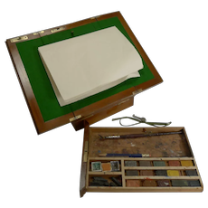 Antique English Brass Bound Mahogany Artist's Box & Portable Easel c.1890 by C. Roberson & Co Ltd
