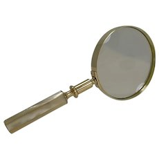 Large Antique English Brass and Mother of Pearl Magnifying Glass c.1890