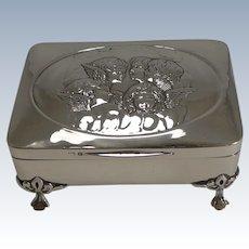 Stunning Antique English Sterling Silver Jewelry Box - Cherubs / Angels