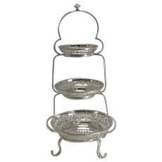 Antique English Silver Plated Graduated Cake Stand c.1900
