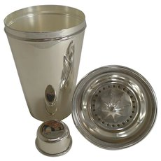 Large Vintage Silver Plated Cocktail Shaker With Integral Lemon Squeezer