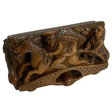 19th Century Scottish Hand Carved Table Snuff Box - Tam O'Shanter