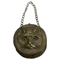 Small Antique Leather and Brass Coin Purse - Cat c.1880