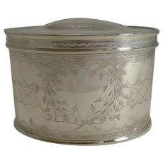 Quality Large Antique English Silver Plated Tea Caddy c.1900