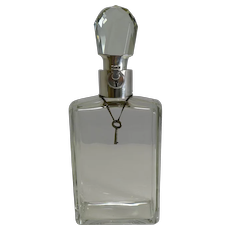 Smart English Crystal and Sterling Silver Locking Decanter by Hukin and Heath
