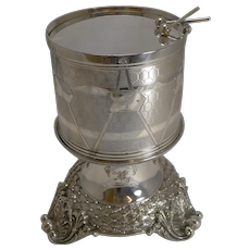 Magnificent and Rare Early Silver Plated Drum Biscuit Box on Stand - 1844