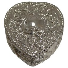 English Victorian Sterling Silver Heart Shaped Box - 1900