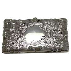 Decorative Edwardian English Sterling Silver Card Case - 1905