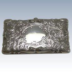 Decorative Edwardian English Sterling Silver Card Case - 1905